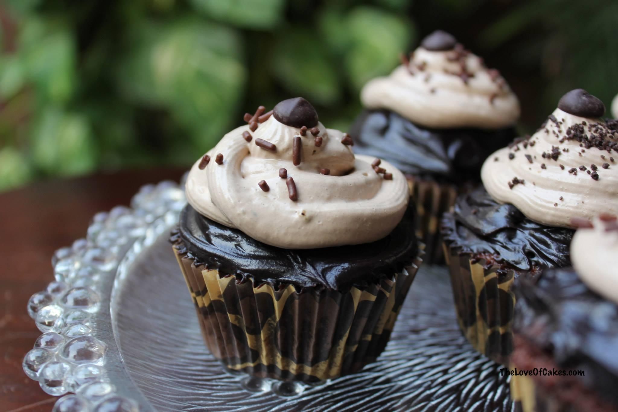 Chocolate cupcakes with chocolate ganache and mocha whipped cream
