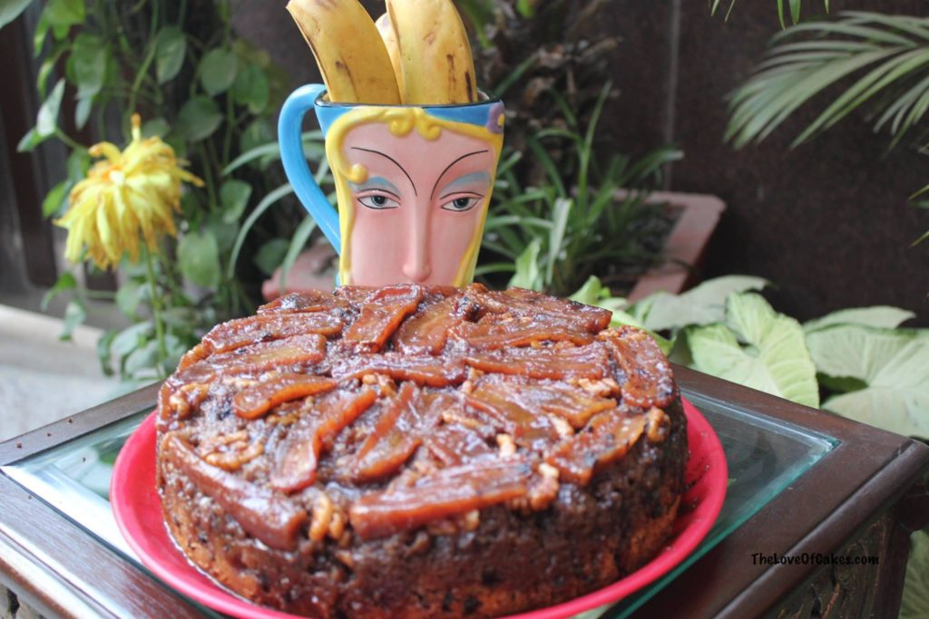 banana walnut upside down cake