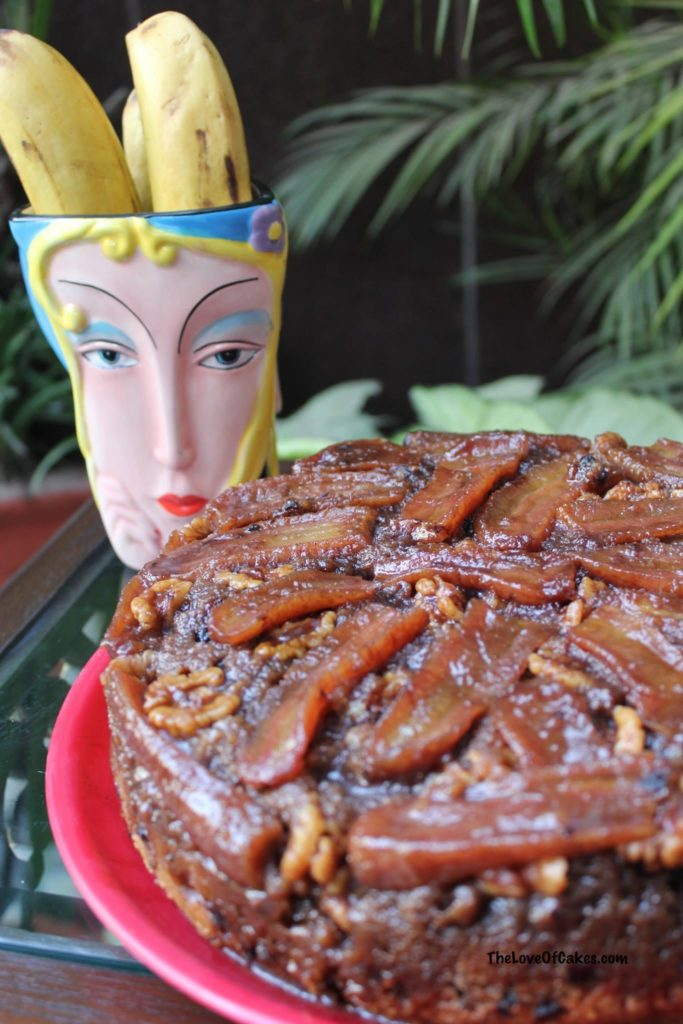 ... cake after inverting, making the Banana Walnut Upside Down Cake even