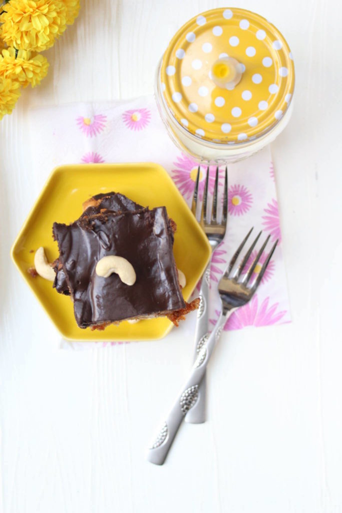 Butterscotch blondies with chocolate glaze and cashews