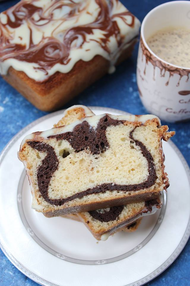 Decadent slice of Marble Loaf Cake