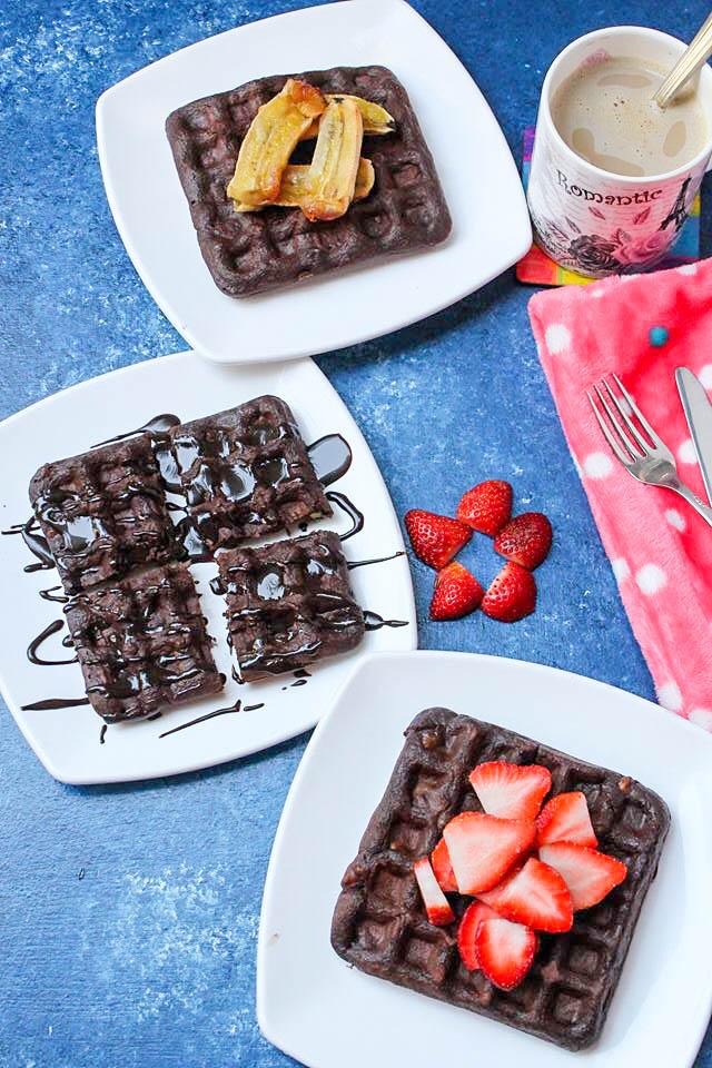 Healthy Oatmeal Chocolate Banana Waffles