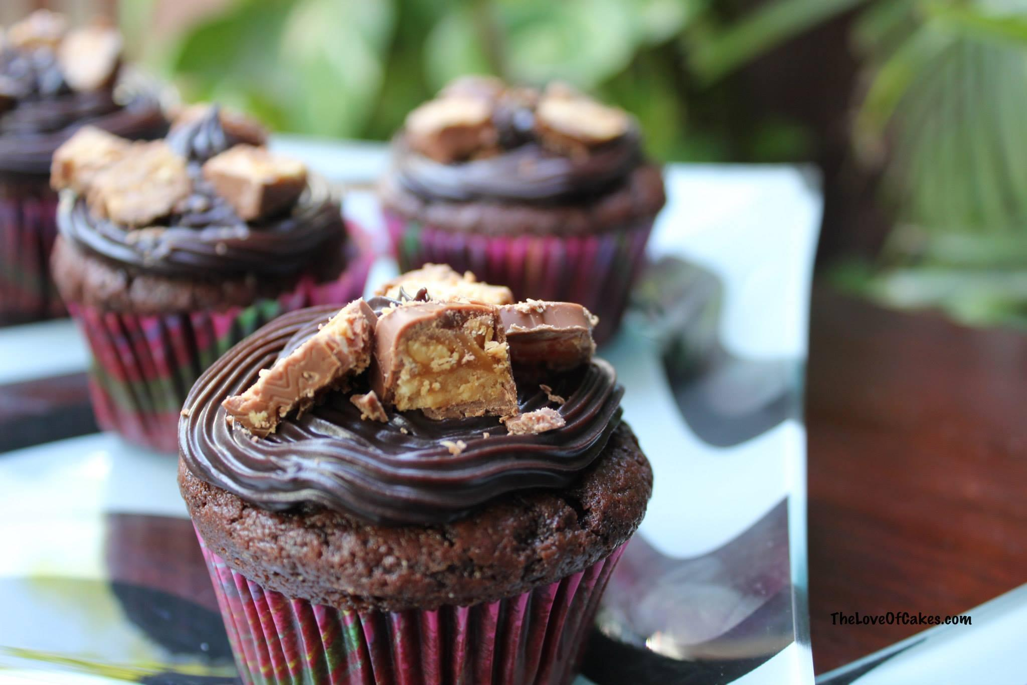Chocolate cupcakes with peanut butter centers and chocolate icing