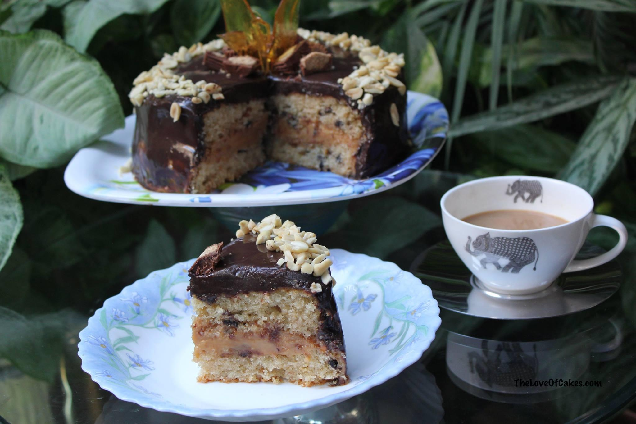 Peanut Butter Cake with Caramel Filling