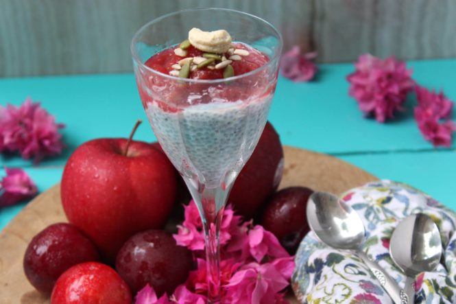 Basil Seed Pudding with Apple and Plum Compote