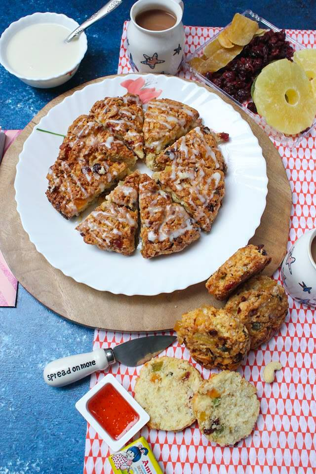 Fruit Scones made with chopped candied fruit