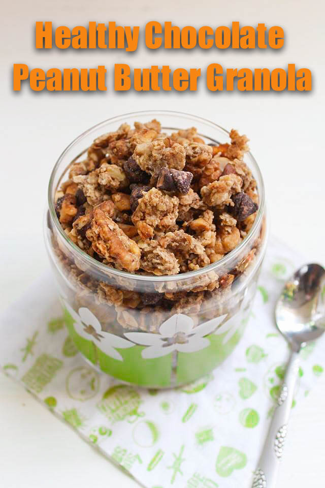 homemade healthy chocolate peanut butter granola